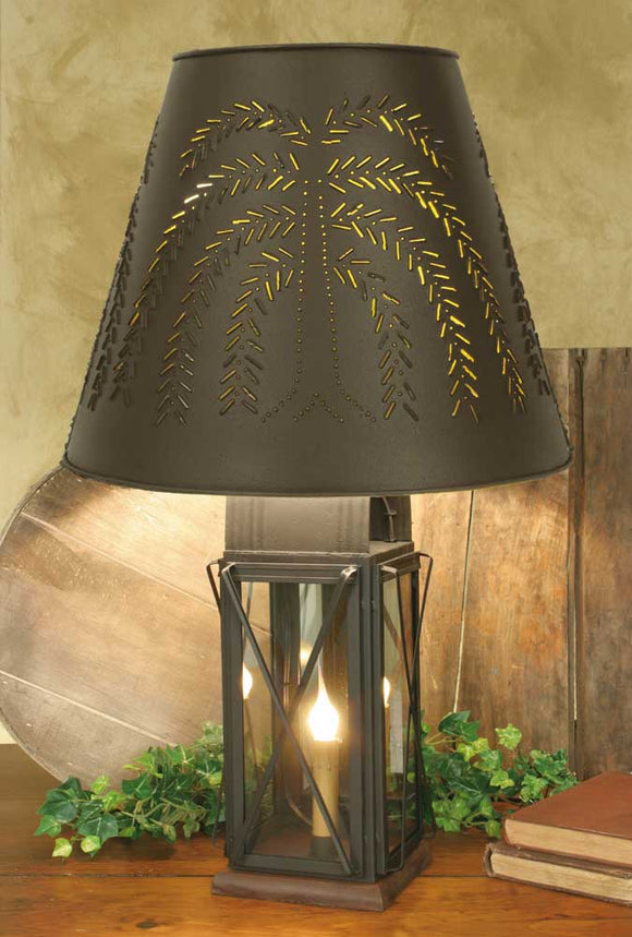 Large Milk House 4-Way Lamp with Willow Shade - Rustic BrownOld Time Shoppe