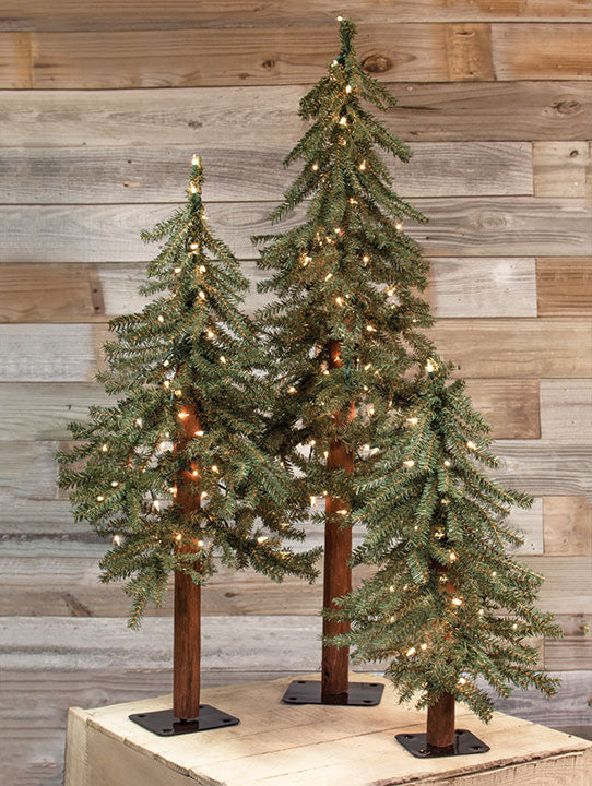 3/Set, Pre-Lit Alpine Trees - Old-Time-Shoppe