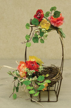 Mixed Tea Rose Wire Basket