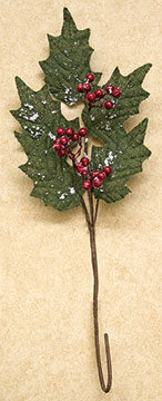 Snowy Burlap Holly SprayOld Time ShoppeWinter