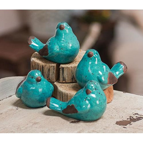 Resin Blue Bird, Set of 4