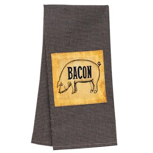 Bacon Plaid Check Dish TowelOld Time Shoppe