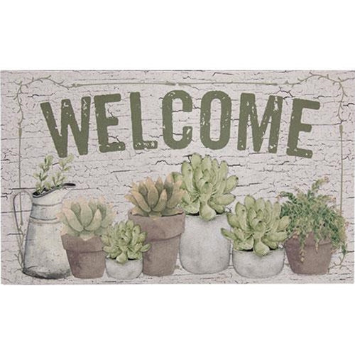 Welcome Floor Mat w/Succulents