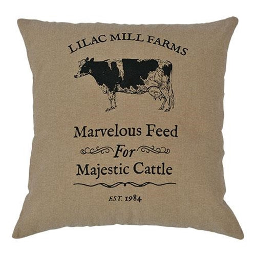 "Majestic Cattle Pillow, 16""Old Time Shoppe"