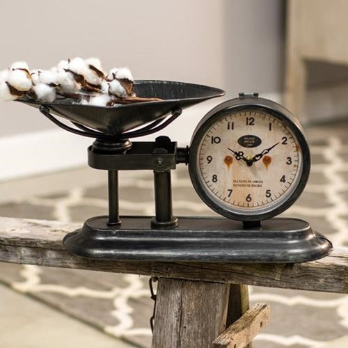 Antiqued Scale with ClockOld Time ShoppeTable Clocks