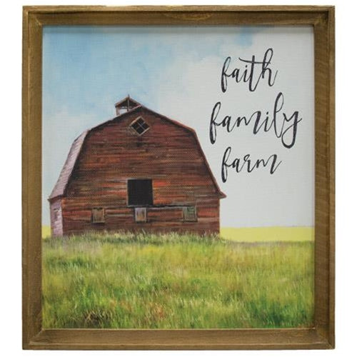 "Framed Faith, Family, Farm Barn Picture - 25""Old Time Shoppe"