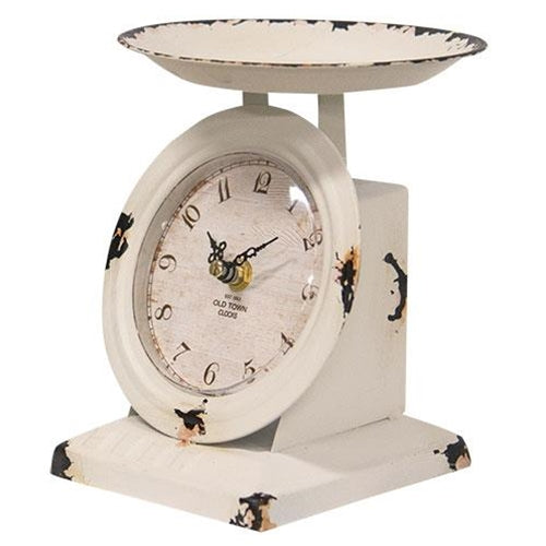 Farmhouse White Old Town Scale ClockOld Time ShoppeTable Clocks