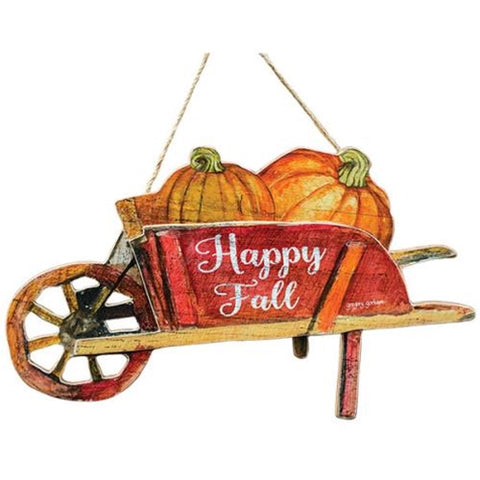 Happy Fall Wheelbarrow - 15''Old Time Shoppe