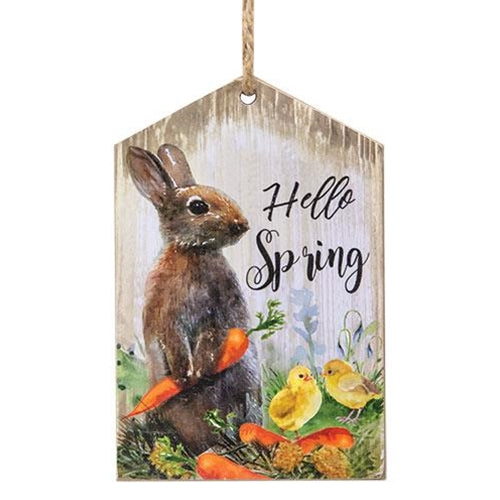 Hello Spring Wooden Tag Ornament