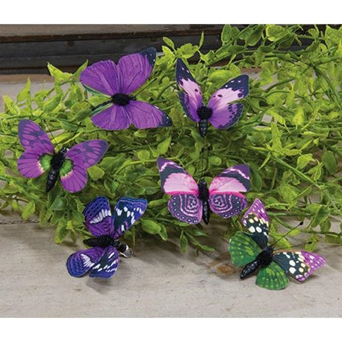 Purple Butterfly Clip, Set of 12