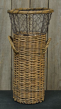 Willow Basket w/Chicken WireOld Time Shoppe