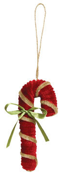 Chenille Candy Cane Ornament - Old-Time-Shoppe