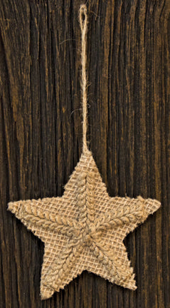 Burlap Pressed Star Ornament - Old-Time-Shoppe