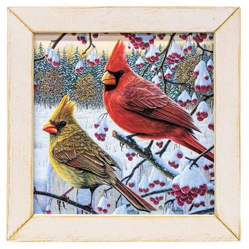 Winter Cardinals Framed Print, White Frame