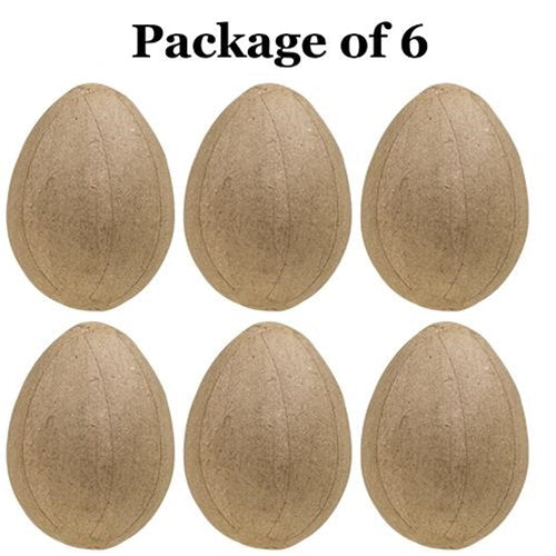 6/Pkg, Papier Mache Eggs - Old-Time-Shoppe