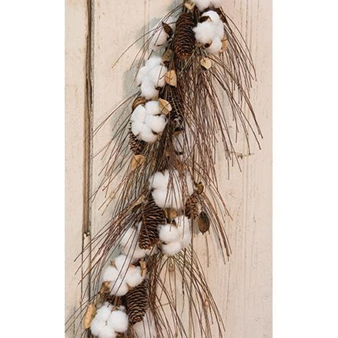 "Cotton & Pinecone Garland, 40"" - Old-Time-Shoppe"