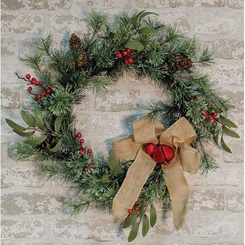Brush Pine w/Red Bells Wreath - Old-Time-Shoppe