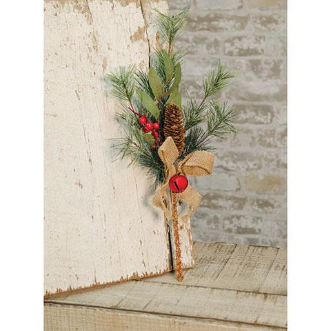 "Brush Pine w/Red Bells Pick, 16"" - Old-Time-Shoppe"