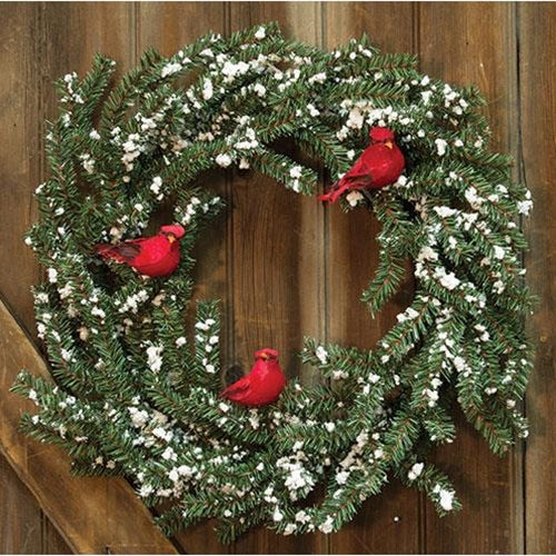 German Twig Wreath w/Cardinals