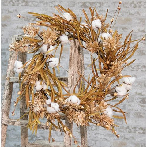 "Cotton Wreath w/Fall Grass, 22"" - Old-Time-Shoppe"