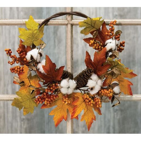 Country Autumn Harvest Half Wreath - Old-Time-Shoppe