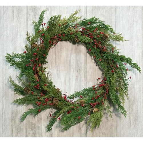 Evergreen Pine w/Red Pips Wreath - Old-Time-Shoppe