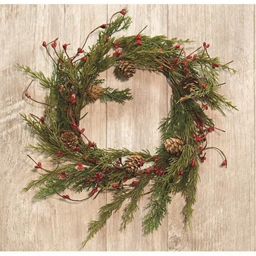 Evergreen Pine w/Red Pips Wreath, 13