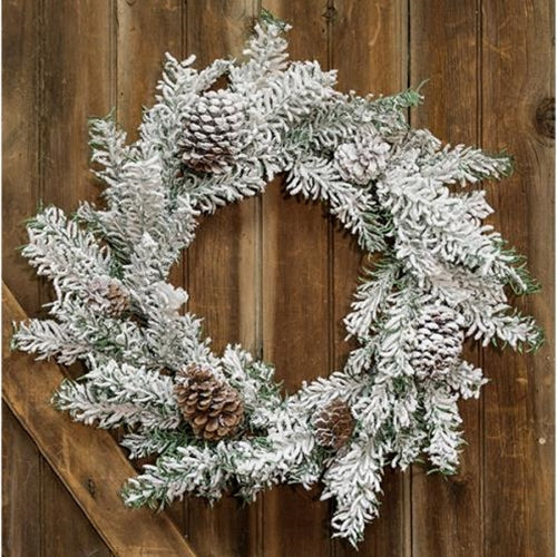 Heavy Snowy Mix Pine Wreath, 24