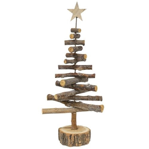 "White Washed Log Tree, 20""Old Time Shoppe"