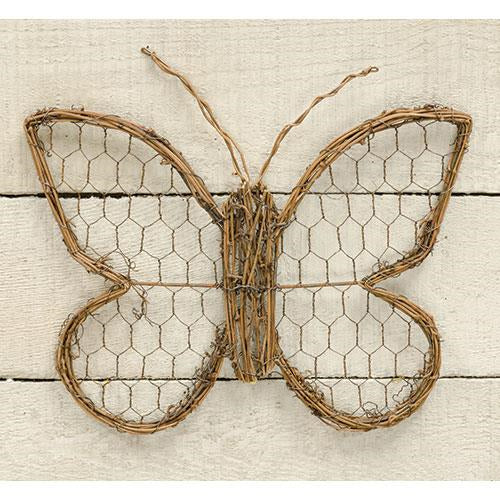 "Chicken Wire & Vine Butterfly, 9""Old Time Shoppe"