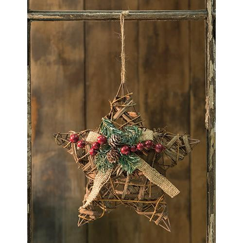 3D Vine Star w/Berries & Pinecones - Old-Time-Shoppe