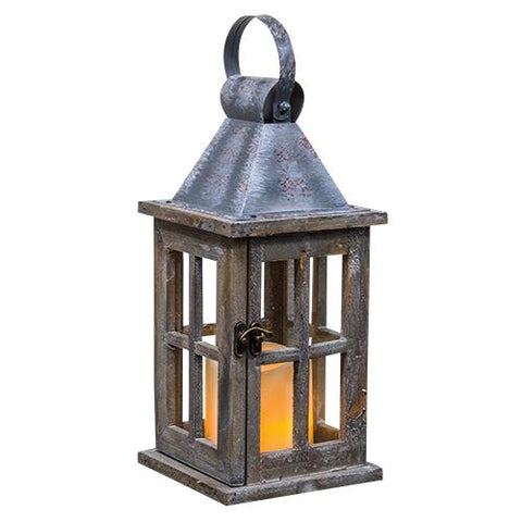 Wood Lantern w/ Timer CandleOld Time Shoppe