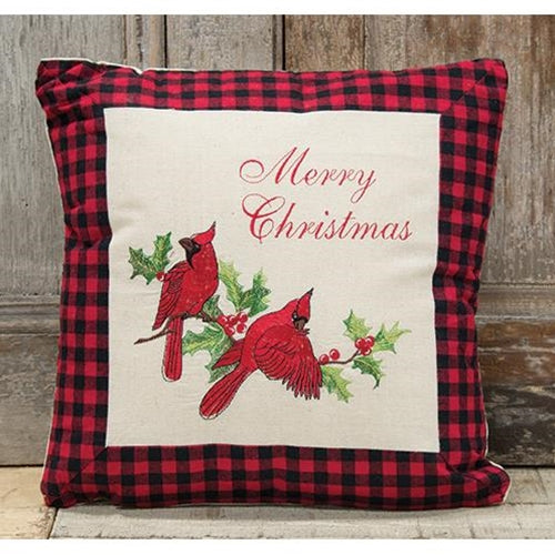"Holiday Cardinal Pillow, 16"" SqOld Time Shoppe"