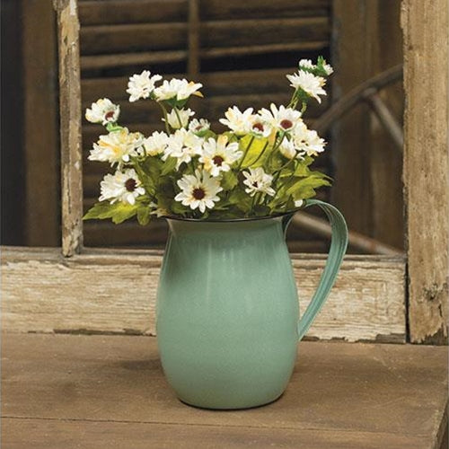 Enamel Pitcher, White or GreenOld Time Shoppe