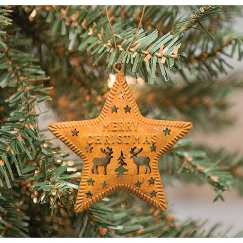 6/Set Rusty Star Christmas Ornaments - Old-Time-Shoppe
