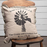 "Charcoal Windmill Pillow, 18"" x 18""Old Time Shoppe"