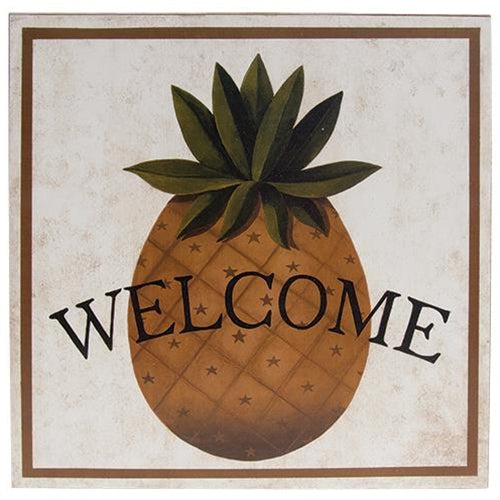Welcome Pineapple Box Sign