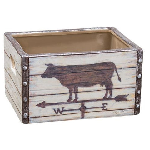 Cow Weathervane Ceramic Crate - Old-Time-Shoppe