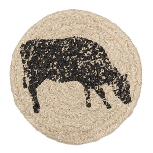 Charcoal Jute Cow Beverage Coasters (6/set) - Old-Time-Shoppe