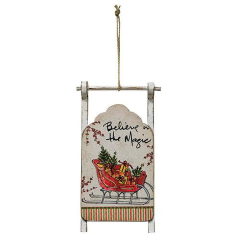 Believe in the Magic Sled Ornament - Old-Time-Shoppe