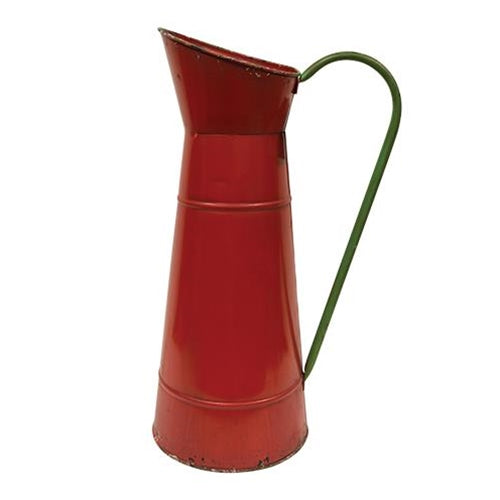 Rustic Red Carafe w/Green HandleOld Time Shoppe