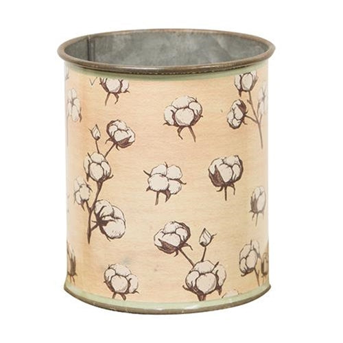 Vintage Cotton and Floral Metal Can - Small
