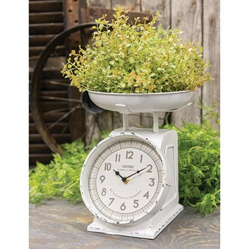 Rustic White Scale w/Clock