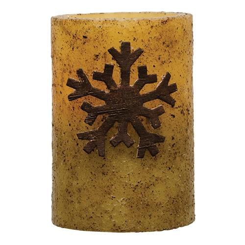 Wooden Snowflake Pillar Candle