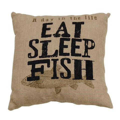 Eat, Sleep, Fish Pillow - Old-Time-Shoppe