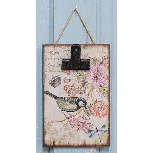 Vintage Bird Hanging ClipboardOld Time Shoppe