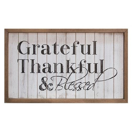 Framed Shiplap Grateful & Blessed Sign - 20'' x 12''Old Time Shoppe