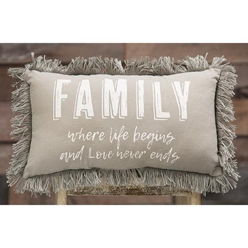 Family Where Life Begins Pillow - Old-Time-Shoppe