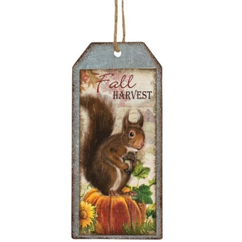 Fall Harvest Metal Tag - Squirrel - Old-Time-Shoppe