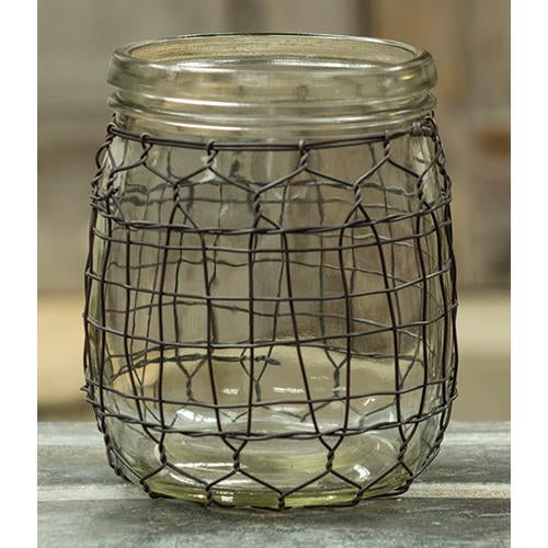 Wide Glass Jar w/Wire, 4x5